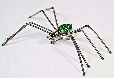 Large SPIDER Pin Brooch Green Sparkle Body with Wiggle Jiggle Spring Legs
