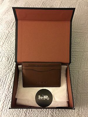 NEW COACH Men's Flat Leather Card Case In Saddle Brown - Authentic