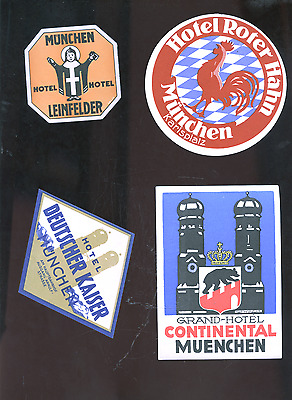 lot of 4 old Munchen Germany luggage labels, Munich decals, stickers