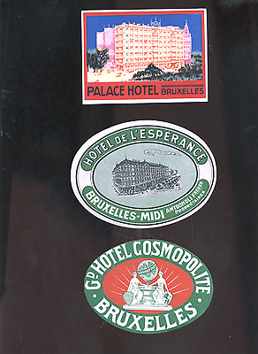 lot of 3 old Bruxelles Belgium luggage labels, Brussels decals, stickers, hotels