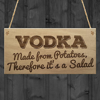 Vodka Salad Funny Alcohol Man Cave Friendship Hanging Plaque Pub Bar Gift Sign