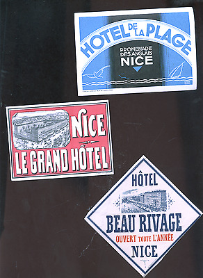 lot of 3 old Nice France luggage labels,  decals, stickers, hotels