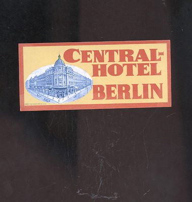 old Berlin Germany luggage label,  decal, sticker, Central-Hotel
