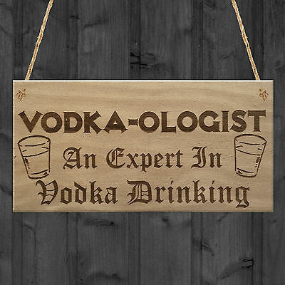 Vodka-Ologist Funny Alcohol Man Cave Friend Gift Hanging Plaque Home Bar Sign