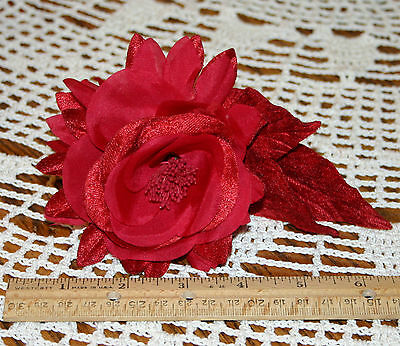 "Lot of 4 Vtg 1980s Millinery Flower Red Rose Velvet & Silk 3"" Bloom"