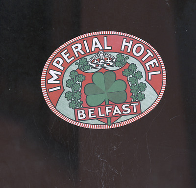 old Belfast Ireland luggage label,decal, Imperial Hotel