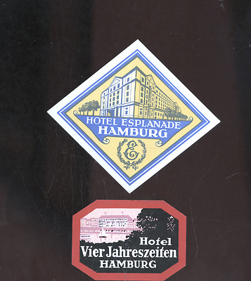 2 old Hamburg Germany luggage labels,decals, hotels