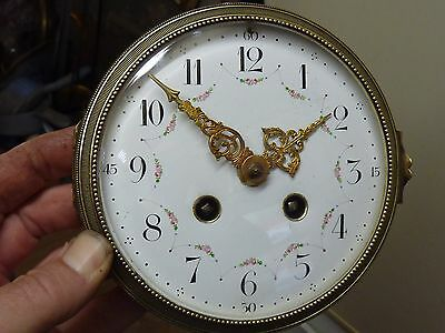 Antique French Clock Striking Movement & Ornate Enamel Dial - Bell & Door(Co)