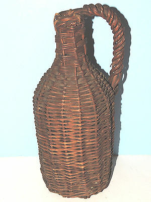 Vintage Primitive Wicker Covered Rattan Demijohn Handled Bottle, 13""