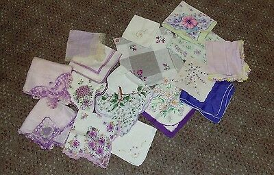 Lot of 15 Vintage Ladies Handkerchiefs Purple Floral, Embroidered, Crochet