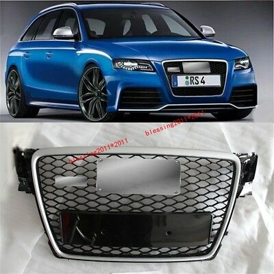 RS4 Front Sline Euro Grille Silver / Black For 2009-2012 Audi A4 S4 B8 8K Avant