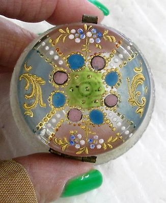 Antique Enamel Decorated Clear Glass Hinged Patch Box Circa 1800's