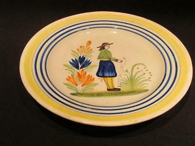 "Henriot Quimper France Vintage Hand Painted Pottery 7"" Plate Majolica Look"