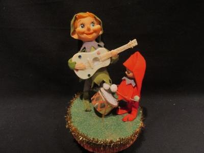 Elves Playing Guitar & Drum 1950s Japan Plastic Figures Foam Base Jingle Bells