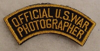 "Wwii Patch ""official U.s.war Photographer"" Arc Tab Emb On Twill  A Hard Find"