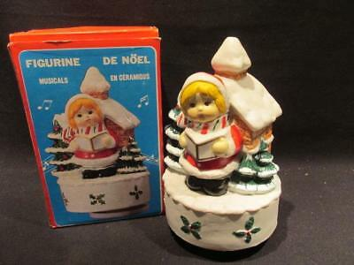 Silent Night Little Girl at Snowy House Vintage Music Box with Original Box