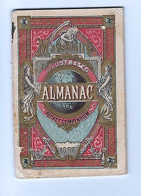 "1897 Marshall's Cubed Cigarettes Illustrated Pocket Almanac 48 Pages 3.5"" X 5"""