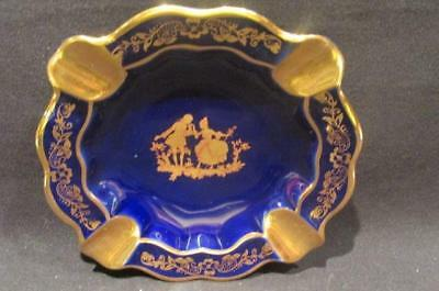 Limoges Made in France Beautiful Cobalt & Gold Ashtray Renaissance Couple