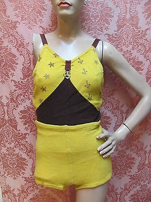 SCARCE* VTG 1930s WWII USO-NAVY Inspired Wool SWIM BATHING SUIT w/ANCHORS-STARS