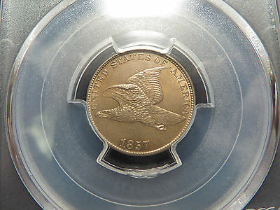 1857 Flying Eagle Cent Pcgs Ms-63