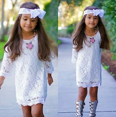 US Stock Kids Girls Toddler White Lace Dress Party Summer Sundress Clothes 2-11Y