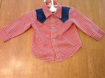 Vintage Red And White Kid Kountry WESTERN Shirt, Infant Size 12 Months, EUC