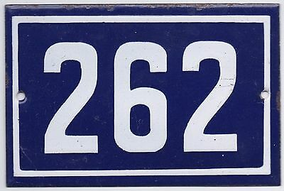 Old blue French house number 262 door gate plate plaque enamel steel metal sign
