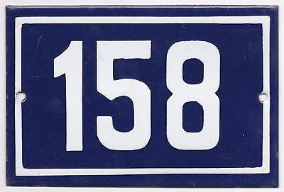 Old blue French house number 158 door gate plate plaque enamel steel metal sign