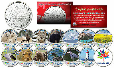 CANADA 150 ANNIVERSARY RCM Royal Canadian Color Medallions SET of 14 - WILDLIFE