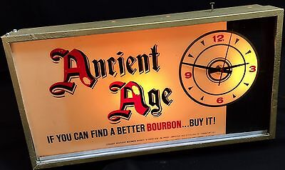 Rare Vintage 1950's-60's Ancient Age Kentucky Bourbon Whisky Electric Clock Sign