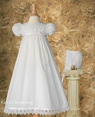 Girls Christening Gown Baptism Dress Cotton & Italian Lace HANDMADE 0-12M CO64