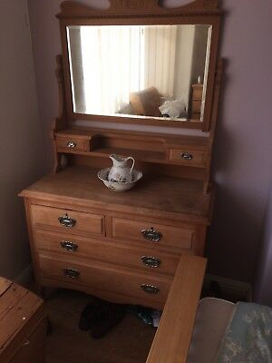 Edwardian Stripped Pine Dressing Table Vgc Poss Deliv