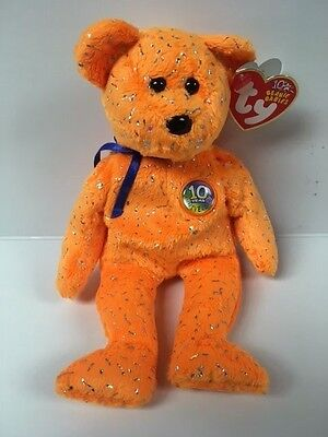 Ty Beanie babies 2003 decade orange Tag ERRORS Plush reTired NWT