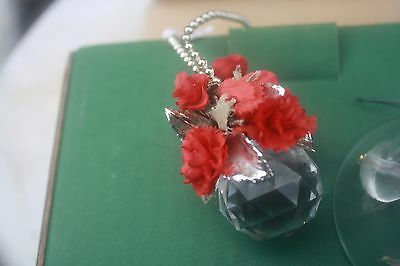 Crystal & Roses Christmas Tree ornaments, NOS 3 items, bell made in Germany