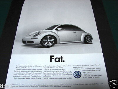 2007 VW VOLKSWAGEN Bug FAT BEETLE Iconic Car Automobile photo print Ad