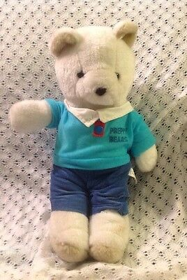 "14"" VINTAGE 1986 LTD COM White PREPPY TEDDY BEAR STUFFED ANIMAL PLUSH TOY ORANGE"