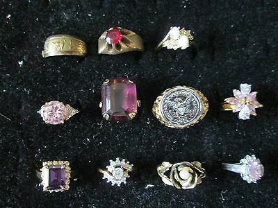 Lot of 11 COSTUME JEWELRY RINGS various sizes styles, mens & women       *7584