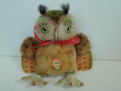 Vintage Steiff Wittie Mohair Owl with Paper Tag