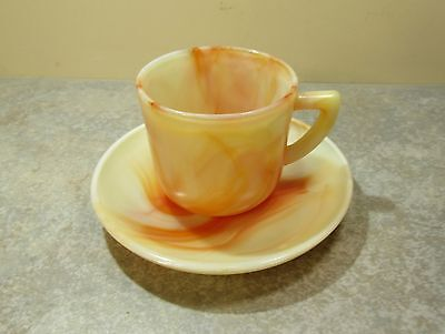 Akro Agate Demitasse Cup Saucer Creamsicle Orange and White