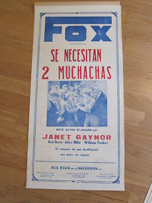 2 GIRLS WANTED Janet Gaynor Glenn Tryon 1927 Argentina poster