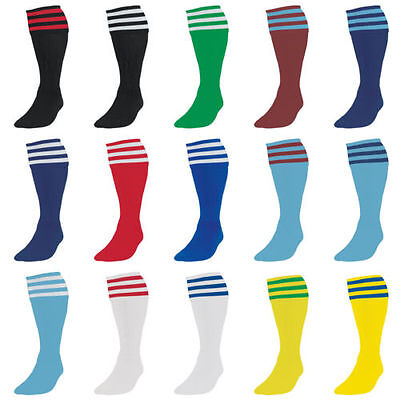 3 stripe football socks mens size 8 9 10 11 12 red blue navy green adult large