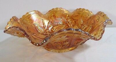 Vintage Carnival Glass Open Rose Pattern Imperial Ruffled Edge Fruit Bowl 9 inch