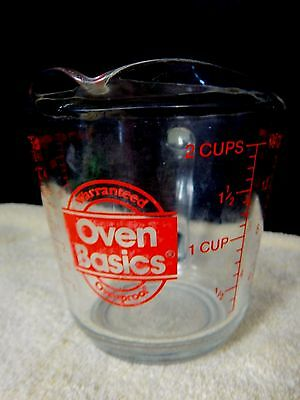Anchor Hocking OVEN BASICS 2 Cup Measuring Cup Ovenproof RED Writing