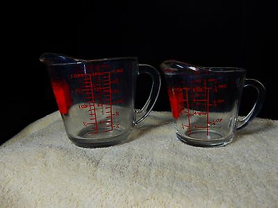 Anchor Hocking OVEN Originals 1 and 2 Cup Measuring Cups RED Writing