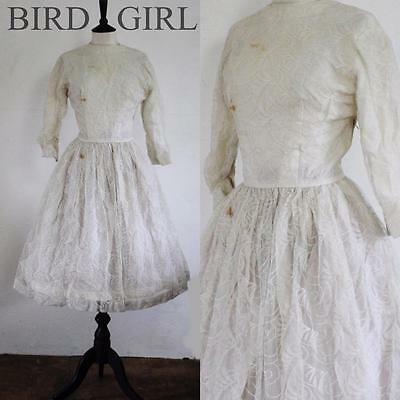 Original 1950S Vintage White Feather Lace Swing Wedding Prom Dress 10 S Tlc