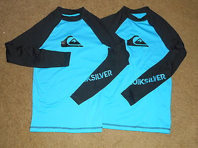 QUIKSILVER lot of 2 Boys RASH GUARD Swim BLACK/BLUE Sun Protection SHIRT 14/ L