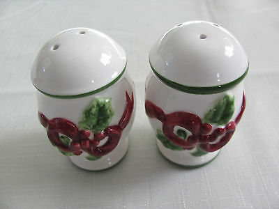 Charter Club Winter Garland -Red Ribbon Holly/Berries - Salt & Pepper Shakers