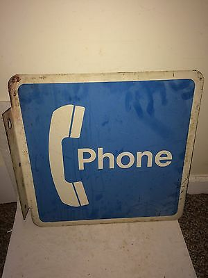 Vintage 70s Large 18 x 18 Phone Bell Telephone 2-Sided Wall Flange Metal Sign