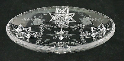 Lovely Signed Hawkes ABP American Brilliant Cut Glass Card Receiver Tray Thistle