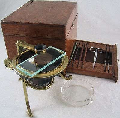 Brass Dissecting Microscope in Wood Case